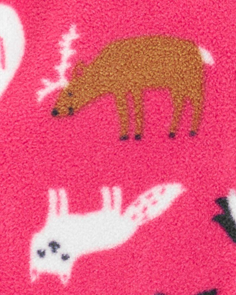 Grenouillère pour dormir et jouer en molleton à glissière et animaux du zoo, , hi-res