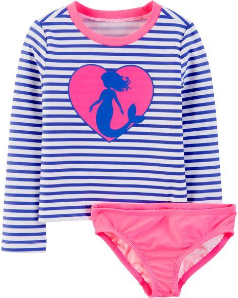 OshKosh Mermaid Stripe Rashguard Set