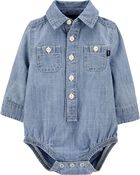 Chambray Button-Front Bodysuit, , hi-res