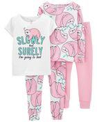 Pyjama 4 pièces en coton ajusté motif paresseux, , hi-res