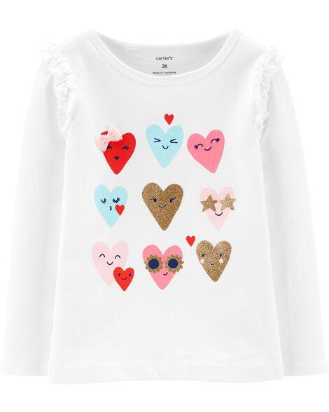 T-shirt en jersey à cœur scintillant