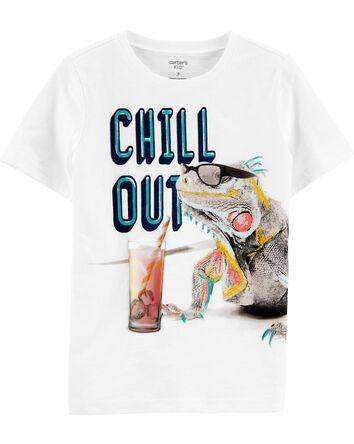 T-shirt en jersey flammé à iguane