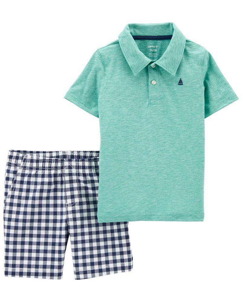 2-Piece Jersey Polo & Short Set, , hi-res