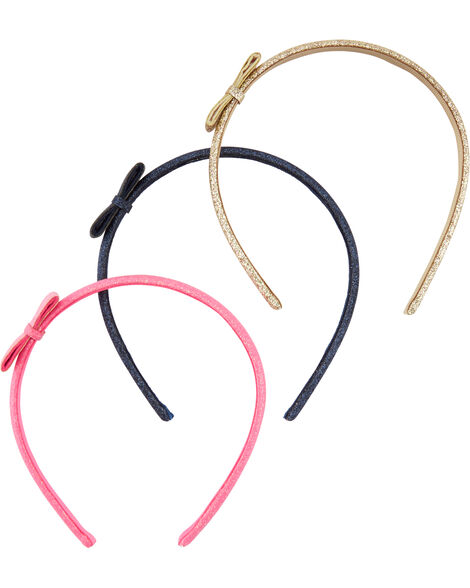 3-Pack Glitter Bow Headbands