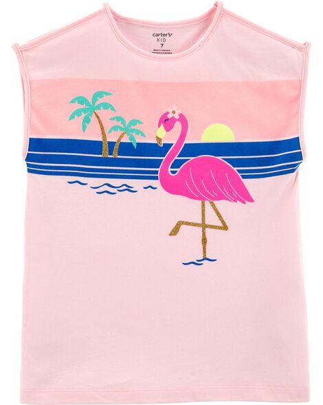 T-shirt en jersey à flamant sur la plage
