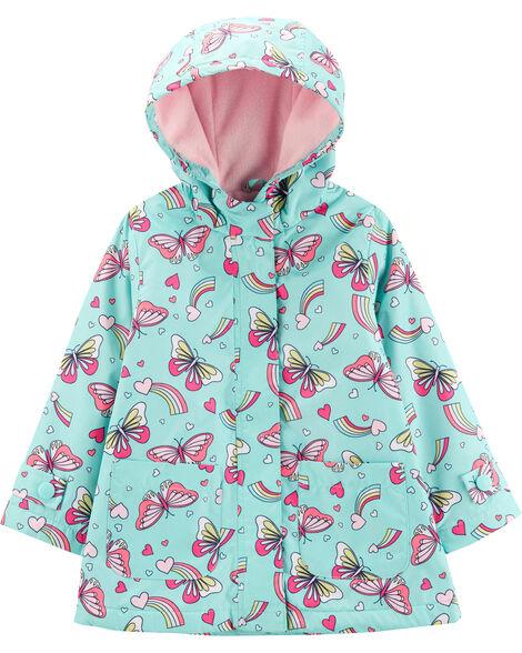 Fleece-Lined Butterfly Rain Jacket