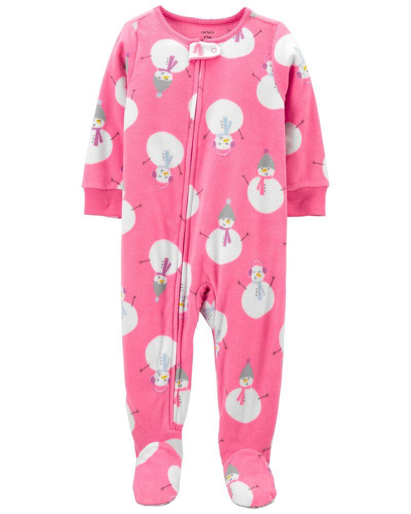 Pyjama 1 pièce à pieds en molleton à bonhomme de neige, , hi-res