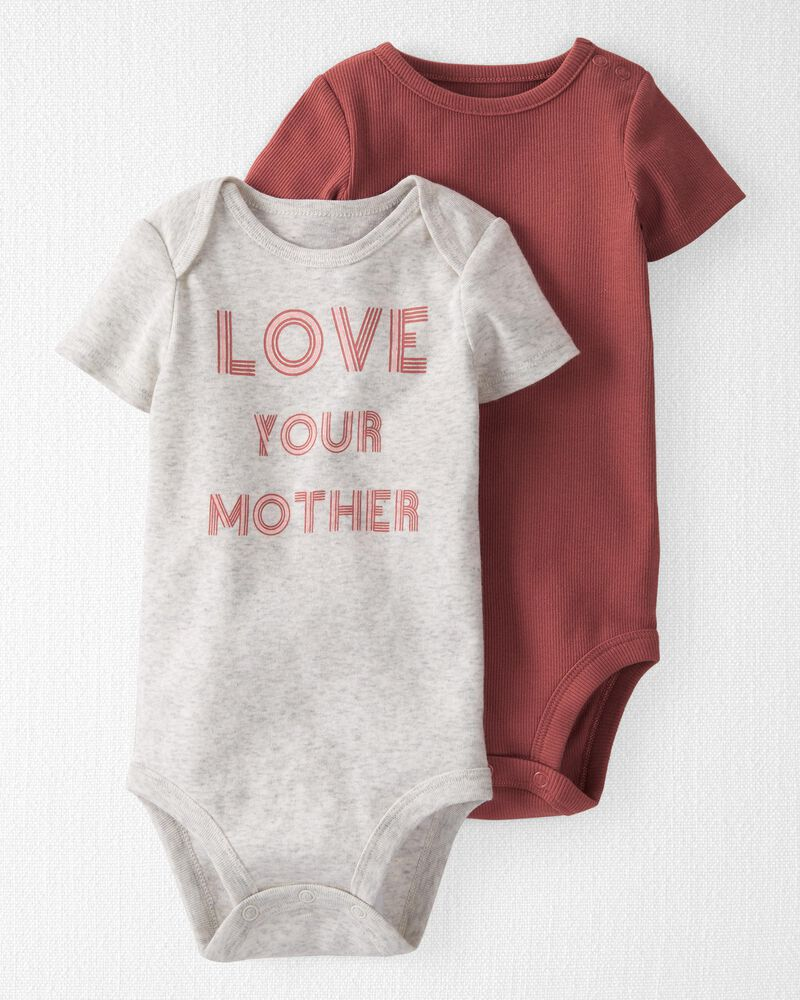 2-Pack Organic Cotton Love Your Mother Bodysuits, , hi-res