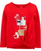 Holiday Tie-Front Jersey Tee, , hi-res