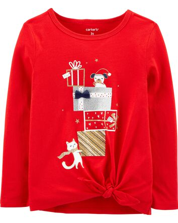 Holiday Tie-Front Jersey Tee
