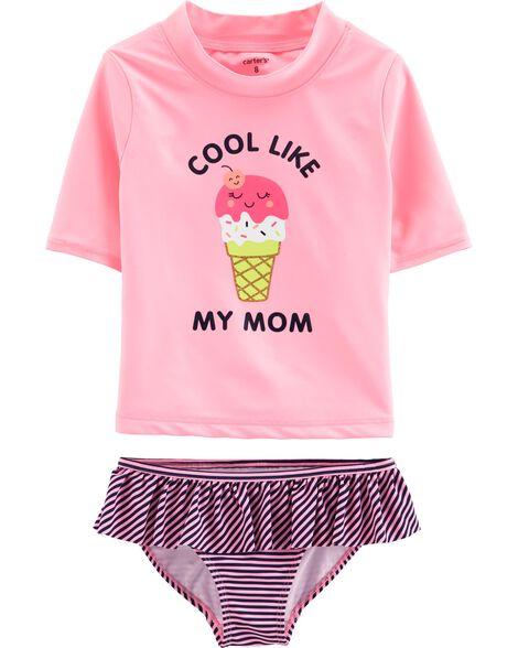 Ice Cream 2-Piece Swim Shirt Set