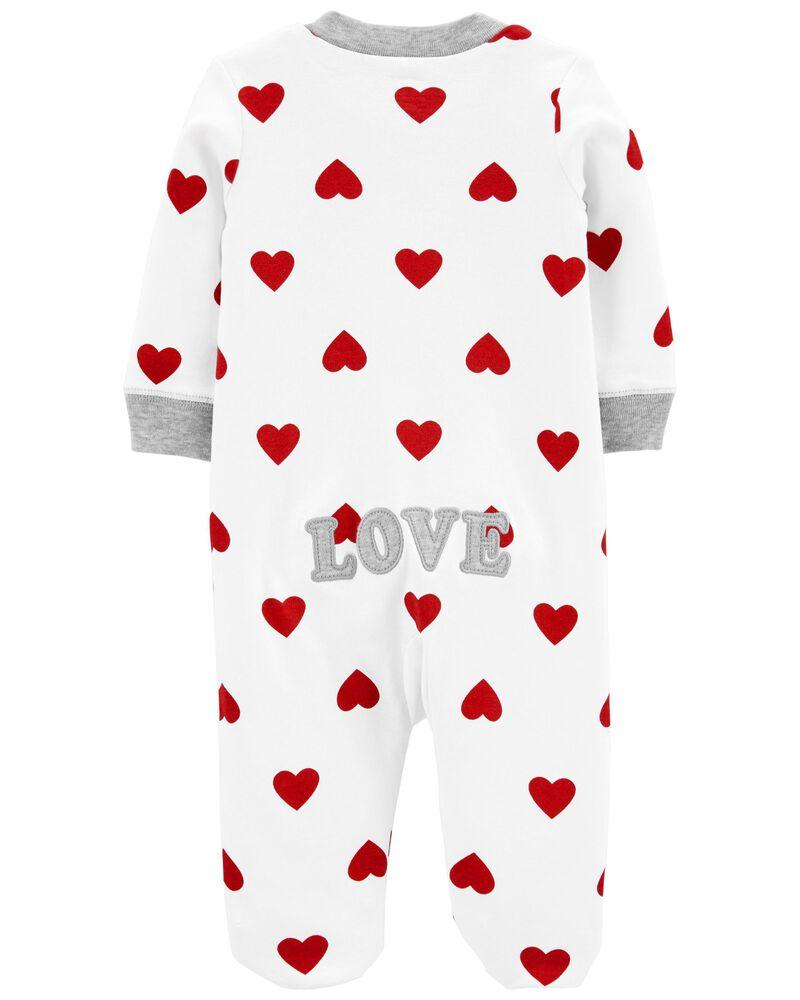 Grenouillère en coton pour dormir et jouer avec glissière 2 sens et cœur , , hi-res