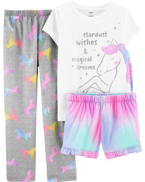 Pyjama 3 pièces en polyester à licorne scintillante