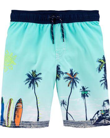 Beach Scene Swim Trunks
