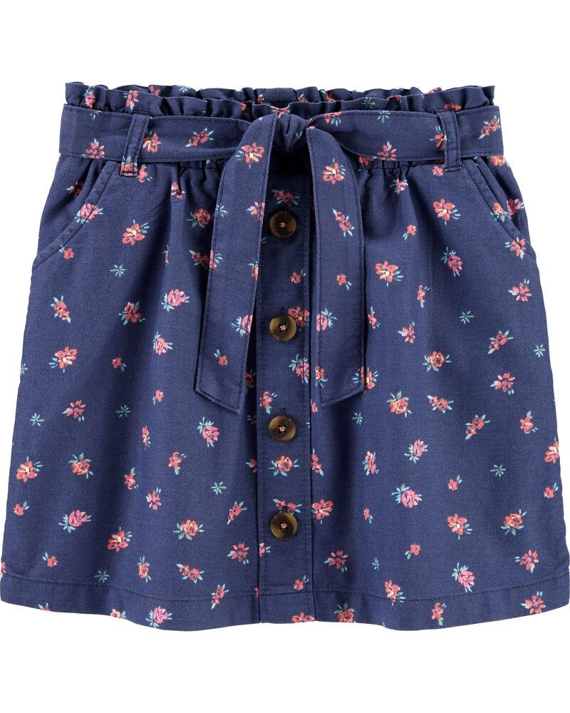 Floral Ruffle Waist Skirt, , hi-res