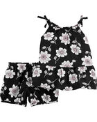 2-Piece Floral Poplin Tank & Short Set, , hi-res