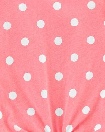 Polka Dot Tie-Front Jersey Tee