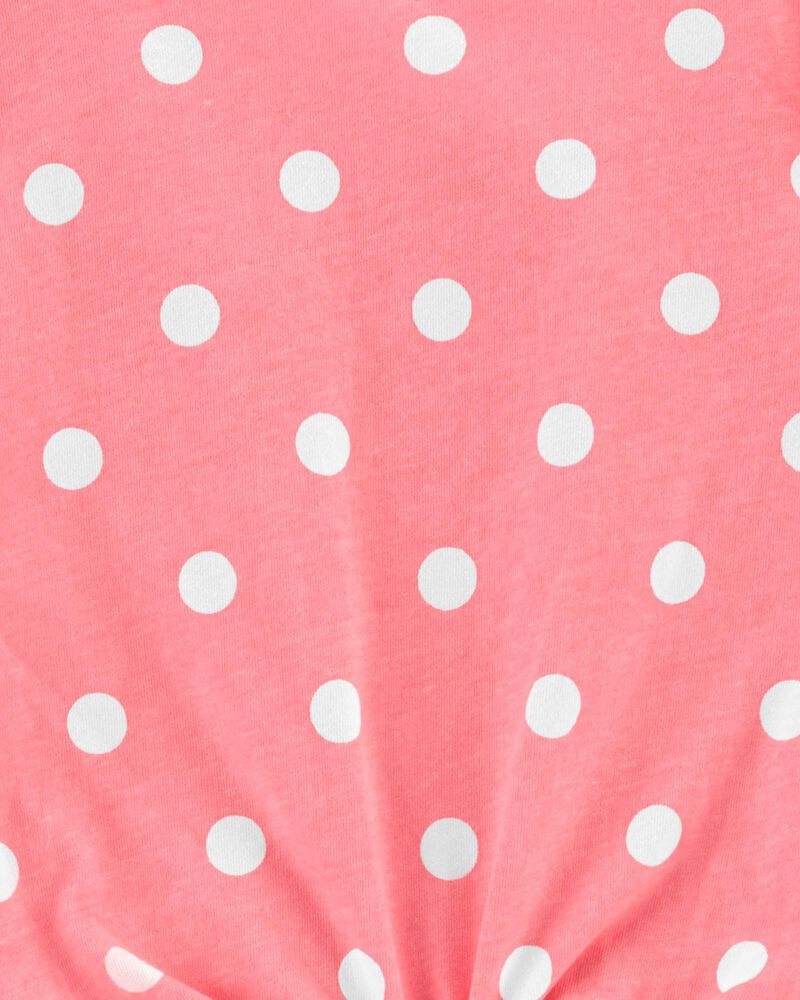Polka Dot Tie-Front Jersey Tee, , hi-res