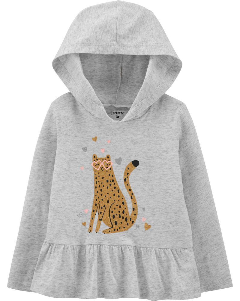 T-shirt en jersey à capuchon avec léopard, , hi-res