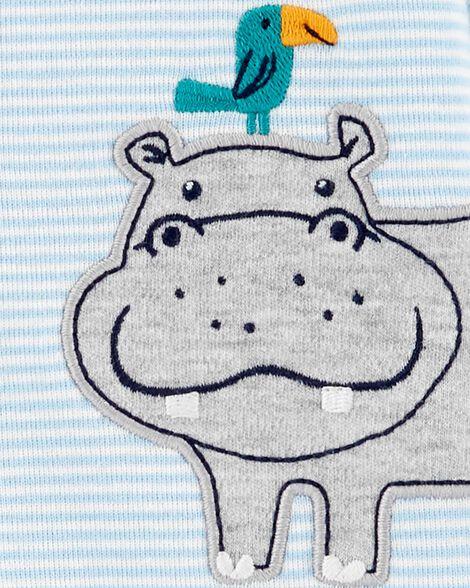 Grenouillère en coton rayé avec boutons-pression et hippopotame