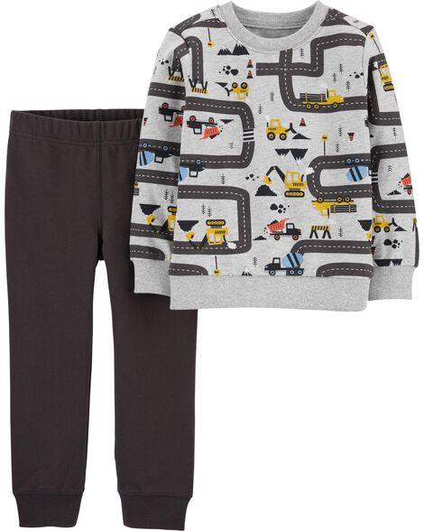 Ensemble 2 pièces chandail à camion de construction et pantalon de jogging