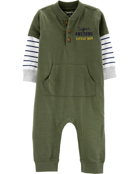 Layered-Look Slub Jersey Jumpsuit