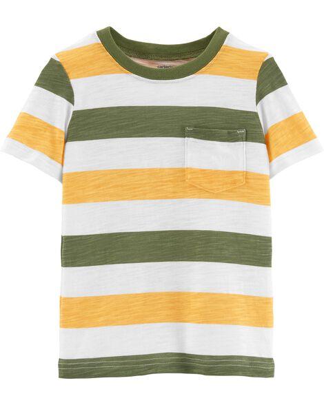 T-shirt rayé en jersey flammé avec poche