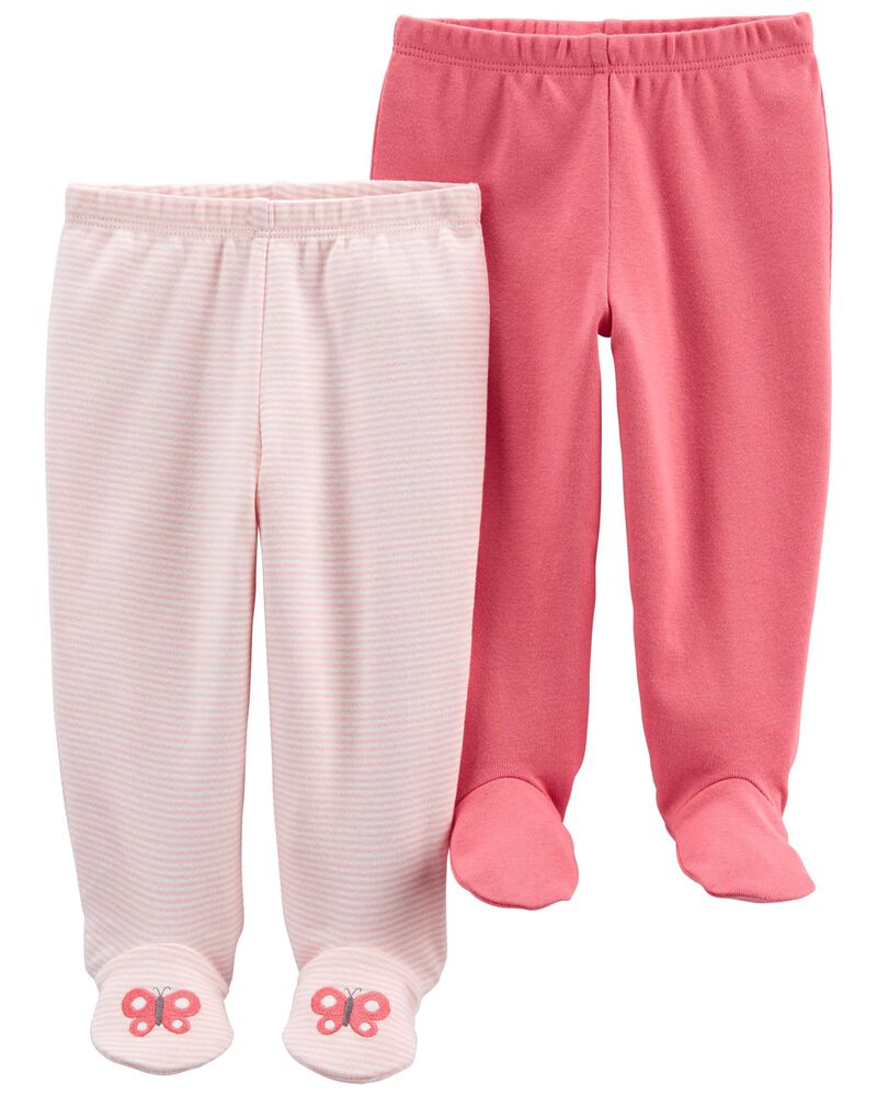 2-Pack Cotton Footed Pants, , hi-res