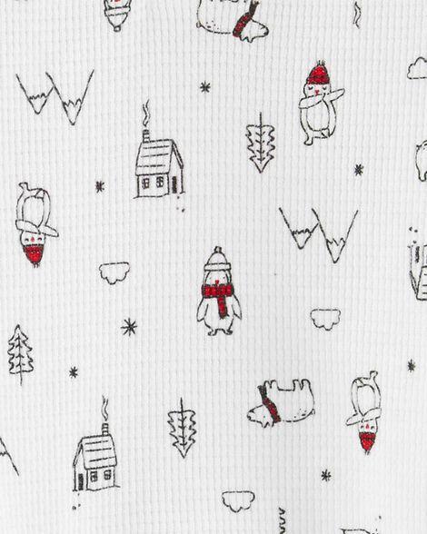 Ensemble 2 pièces cache-couche henley et pantalon motif hiver