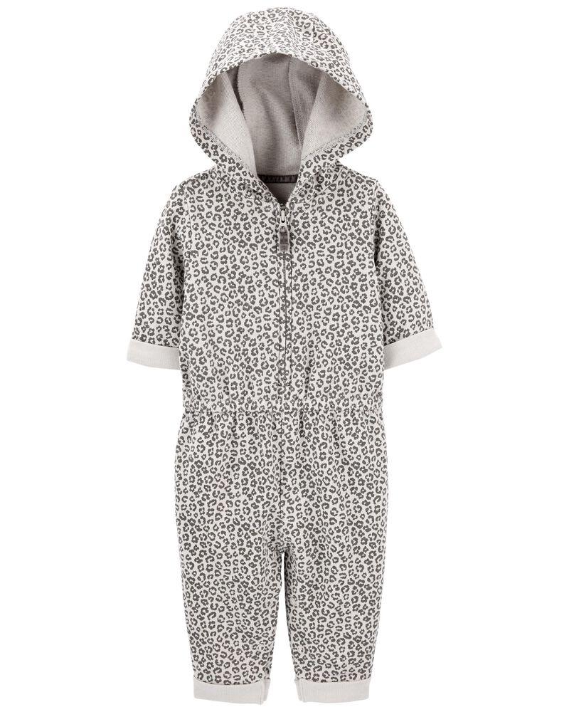 Hooded Leopard Jumpsuit, , hi-res