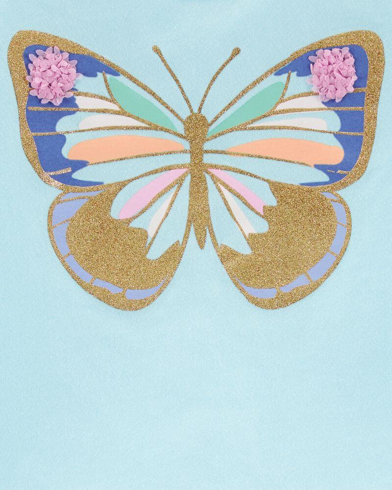 T-shirt en jersey à papillons et tulipes scintillants, , hi-res