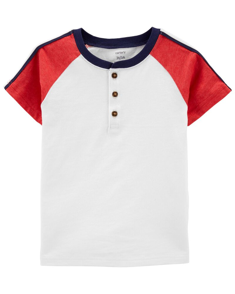T-shirt henley à manches raglan, , hi-res