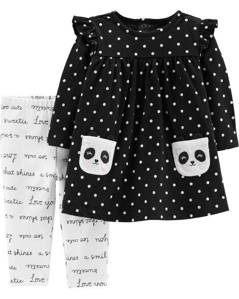 2-Piece Panda Dress & Slogan Legging Set