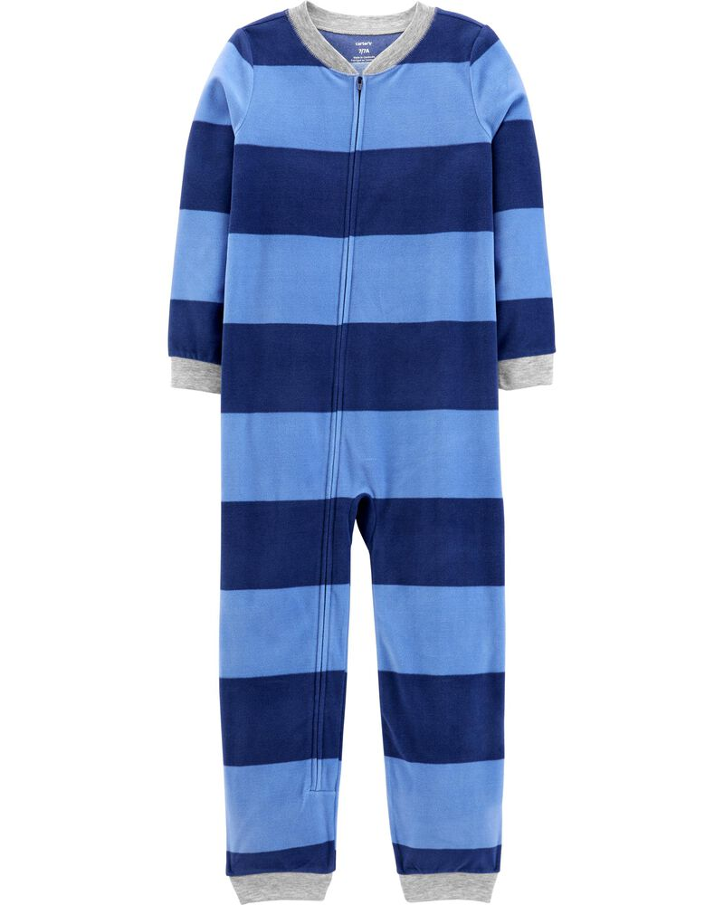 1-Piece Striped Fleece Footless PJs, , hi-res