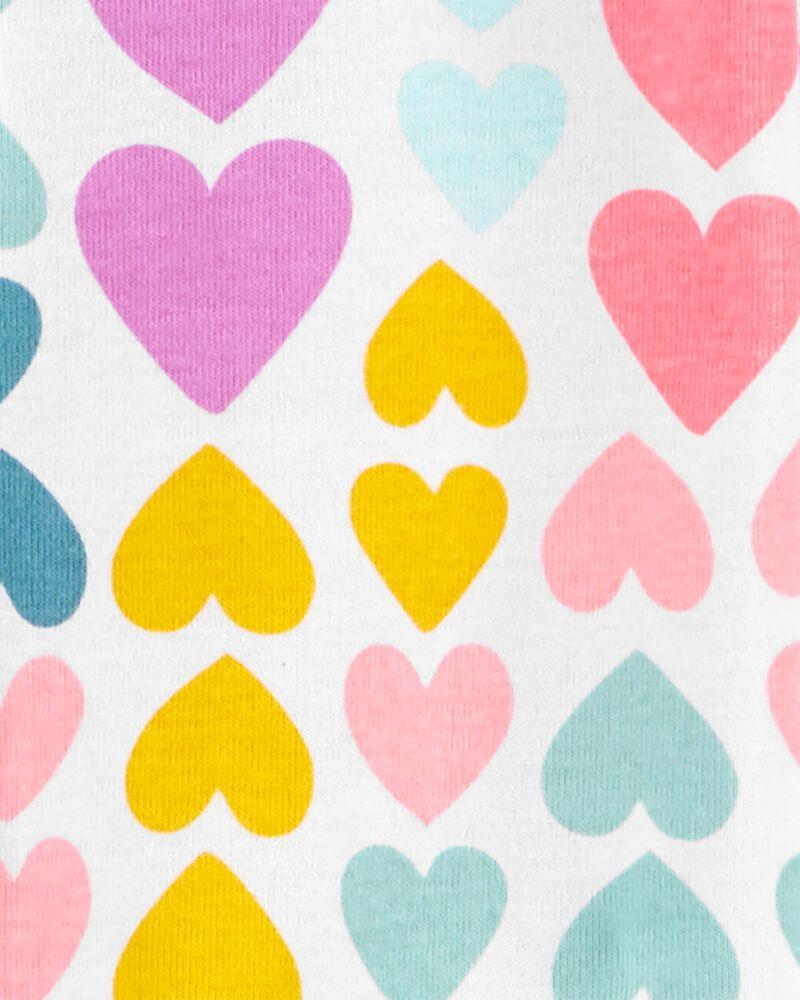 Pyjama 1 pièce sans pieds en coton ajusté motif cœur, , hi-res