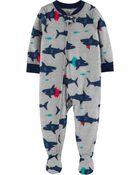 Pyjama 1 pièce en polyester à pieds motif requin, , hi-res