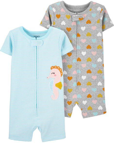 Emballage de 2 pyjamas barboteuses en coton ajusté