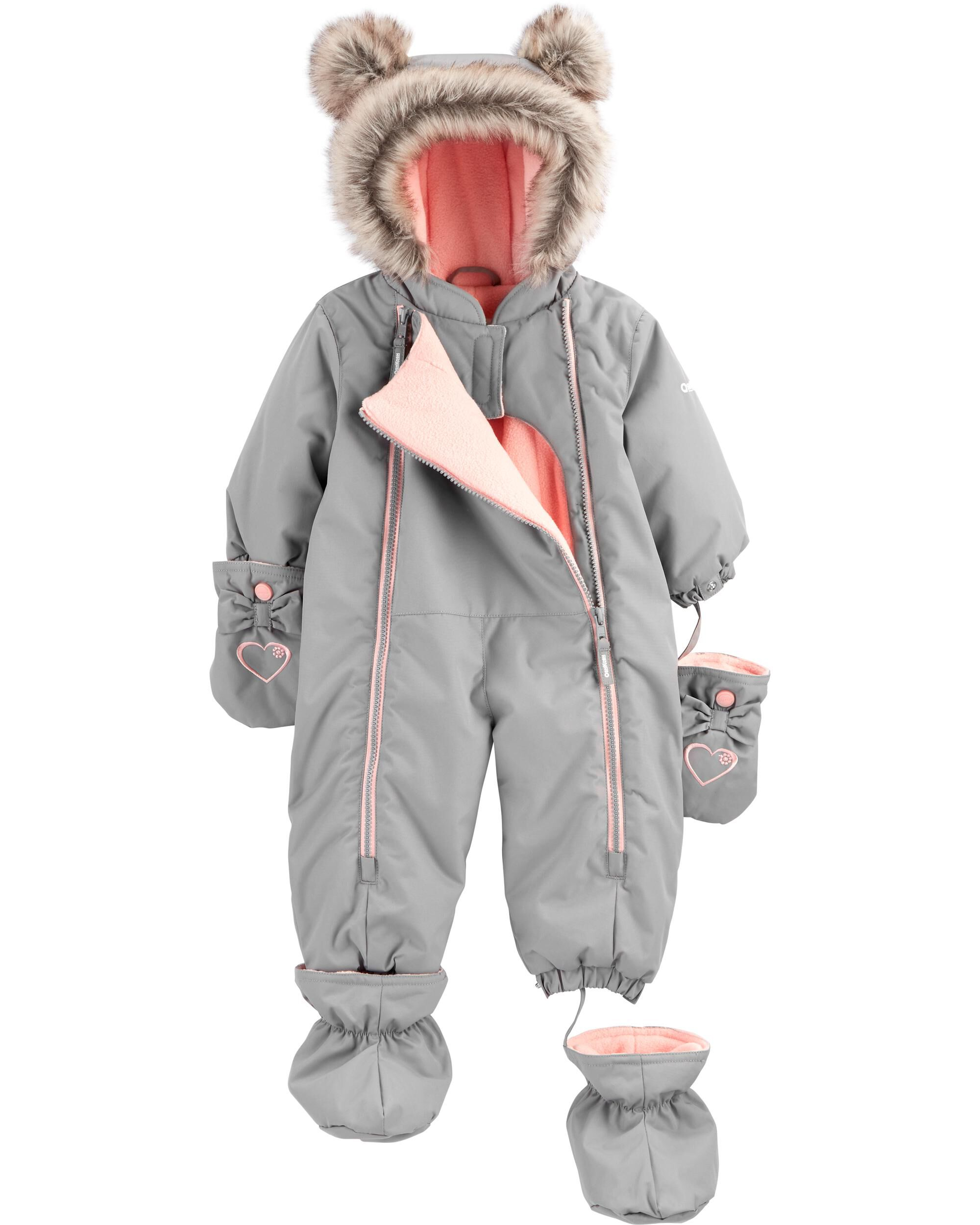 Baby Girl 1-Piece Fleece-Lined Infant Snowsuit   Carter's ...