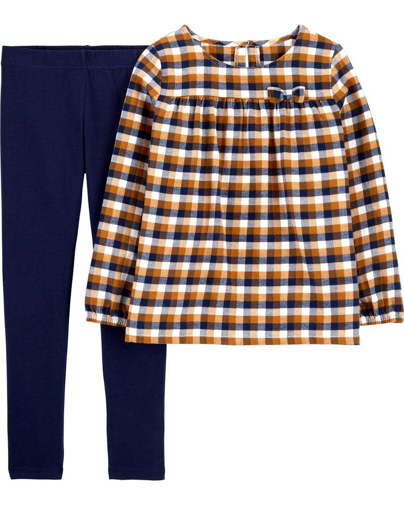 2-Piece Plaid Twill Top & Legging Set, , hi-res