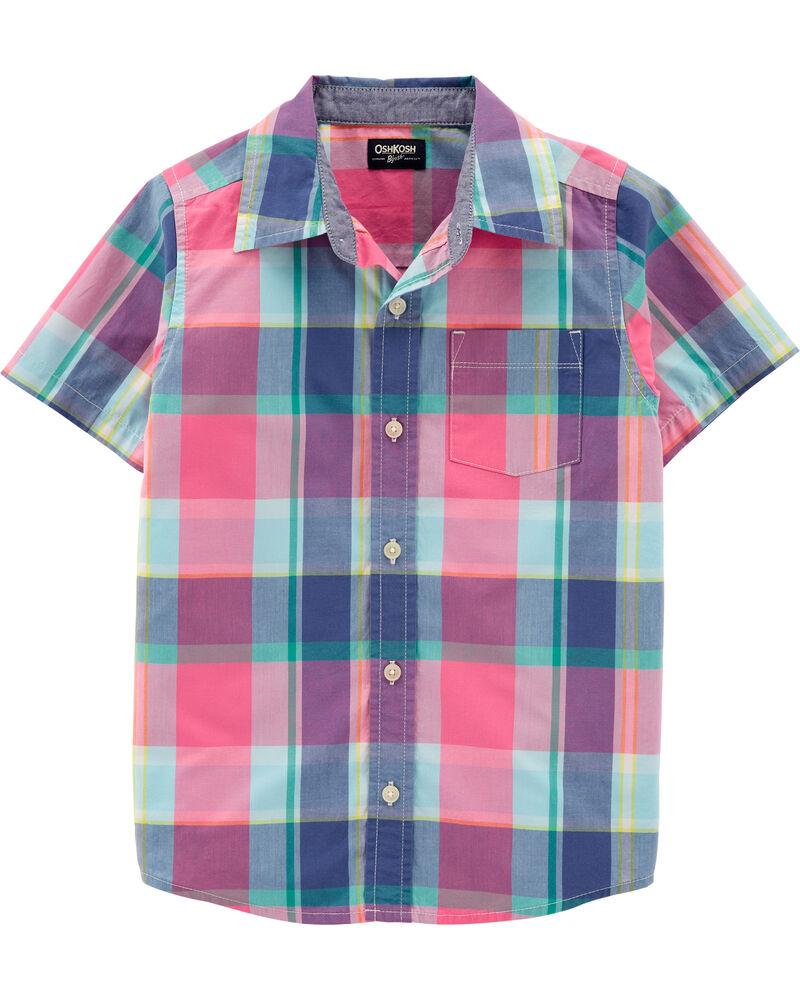 Plaid Short Sleeve Button-Front Shirt, , hi-res