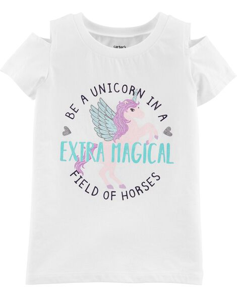 Glitter Unicorn Split Shoulder Hi-Lo Tee
