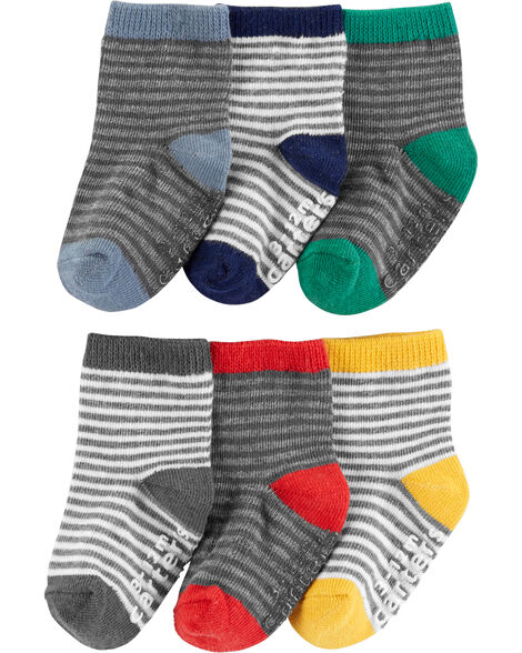6-Pack Stripe Crew Socks