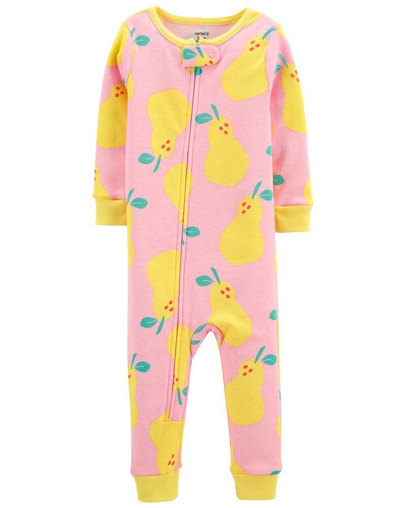 Pyjama 1 pièce sans pieds en coton ajusté à poire, , hi-res
