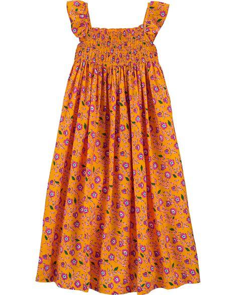 Floral Smocked Viscose Dress
