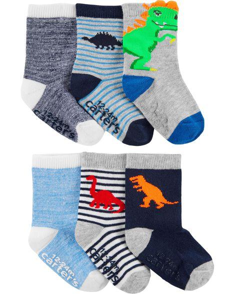 6 paires de chaussettes mi-mollet dinosaure