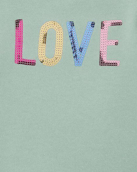 Haut en molleton pailleté Love