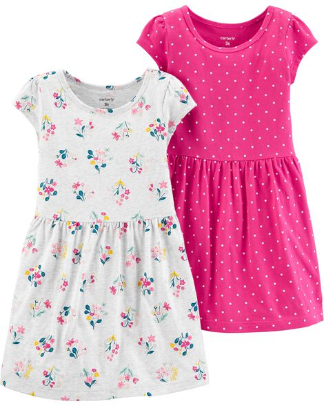 2-Pack Floral & Polka Dot Jersey Dress Set