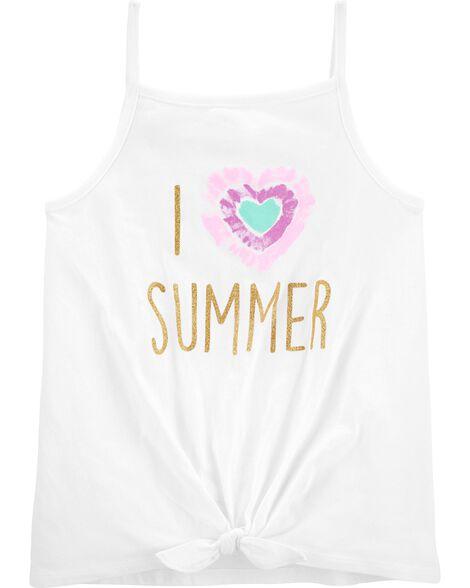 I Love Summer Tie-Front Tank