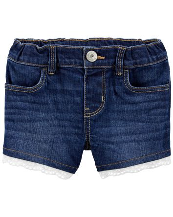 Eyelet Trim Stretch Denim Shorts