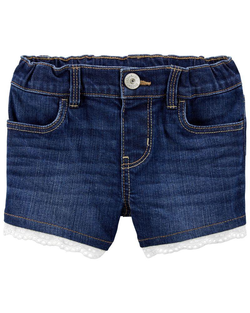 Eyelet Trim Stretch Denim Shorts, , hi-res